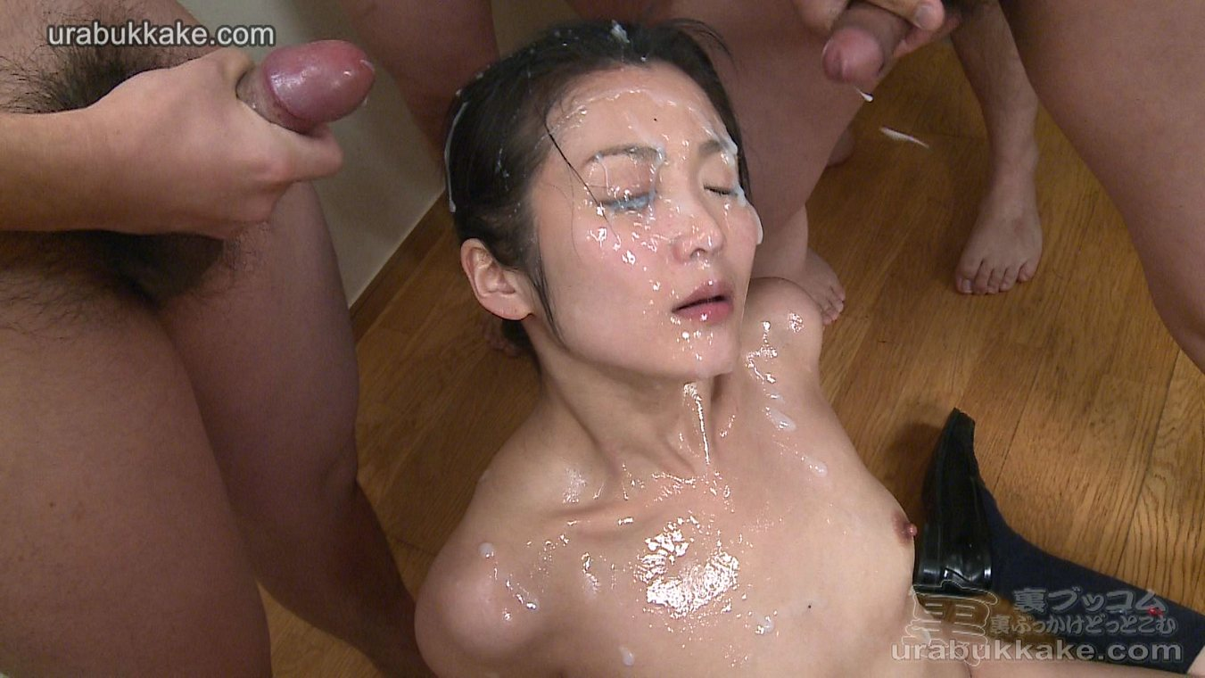 Japanese girl covered in cum