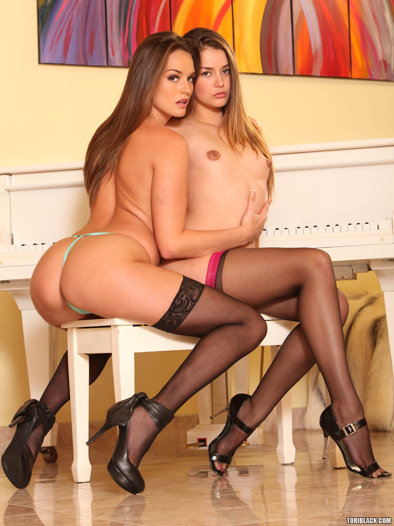 brunettes in stockings tori black and allie haze have